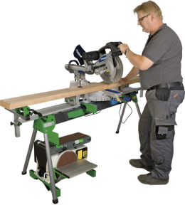 Universal table for miter saws and machines